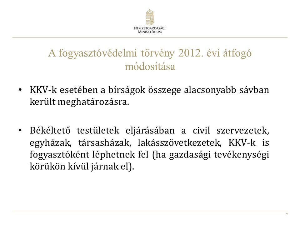 A fogyasztóvédelmi törvény 2012. évi átfogó módosítása