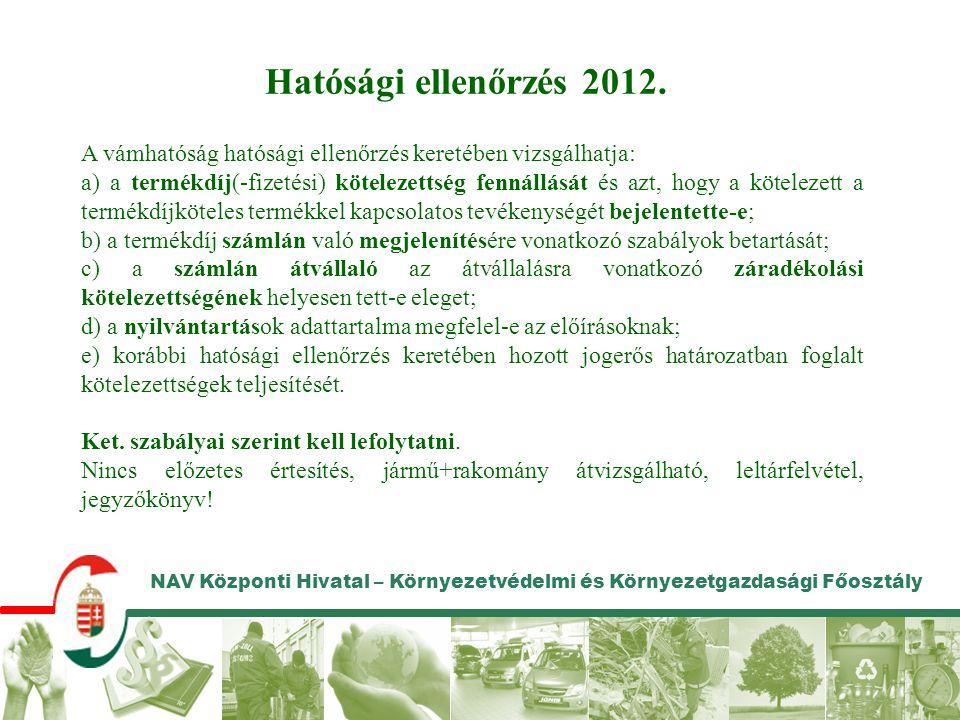 Hatósági ellenőrzés 2012. A vámhatóság hatósági ellenőrzés keretében vizsgálhatja: