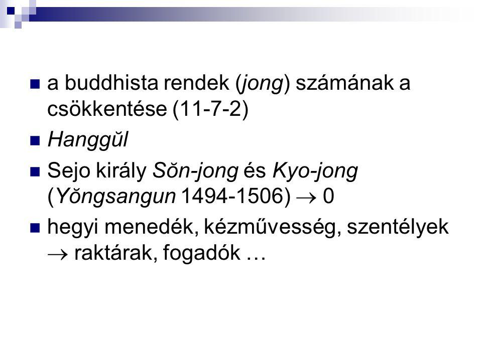a buddhista rendek (jong) számának a csökkentése (11-7-2)