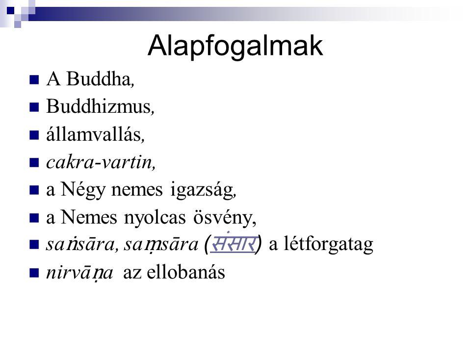Alapfogalmak A Buddha, Buddhizmus, államvallás, cakra-vartin,