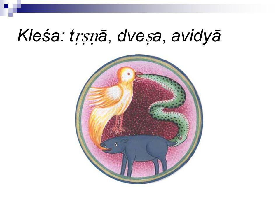 Kleśa: tṛṣṇā, dveṣa, avidyā
