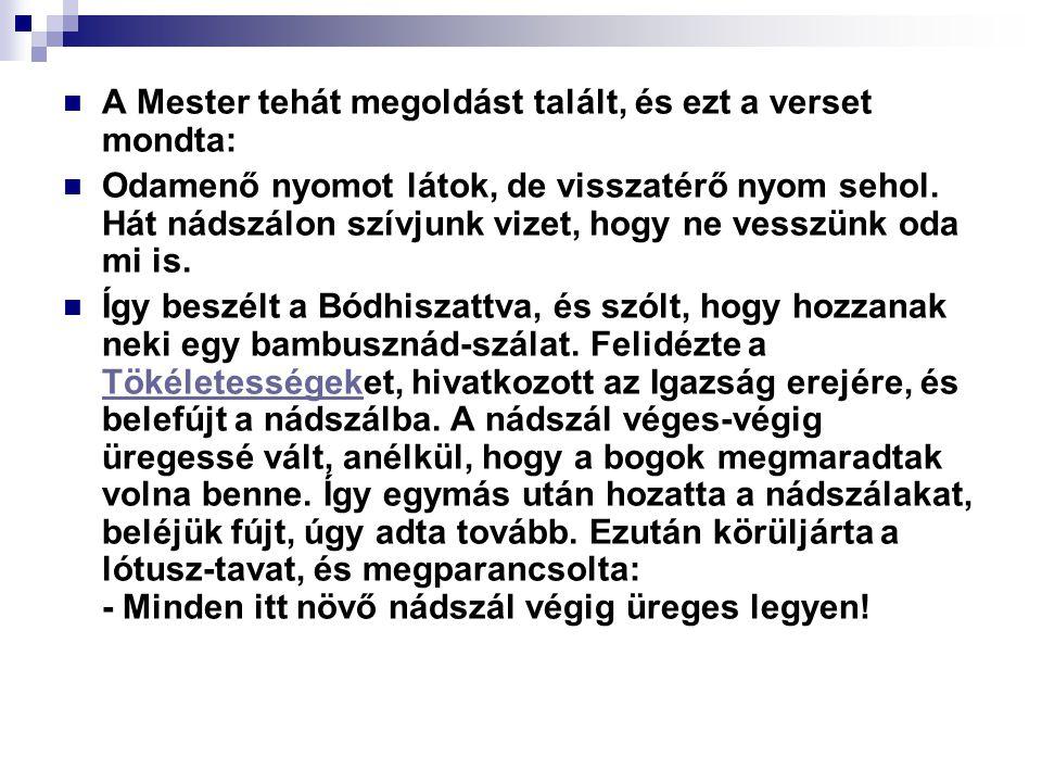 A Mester tehát megoldást talált, és ezt a verset mondta: