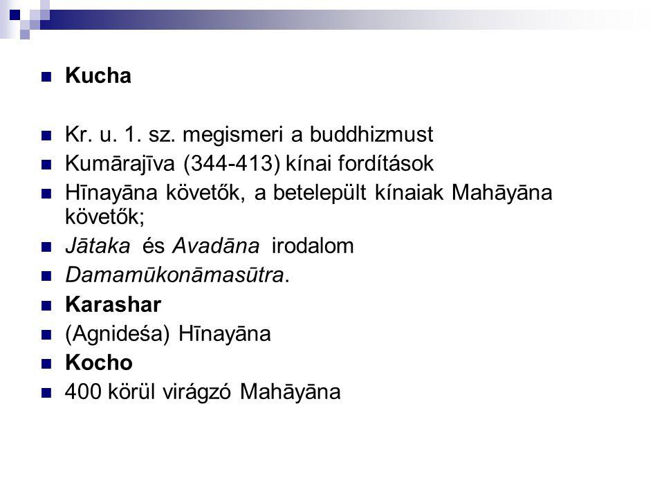 Kucha Kr. u. 1. sz. megismeri a buddhizmust. Kumārajīva (344-413) kínai fordítások. Hīnayāna követők, a betelepült kínaiak Mahāyāna követők;