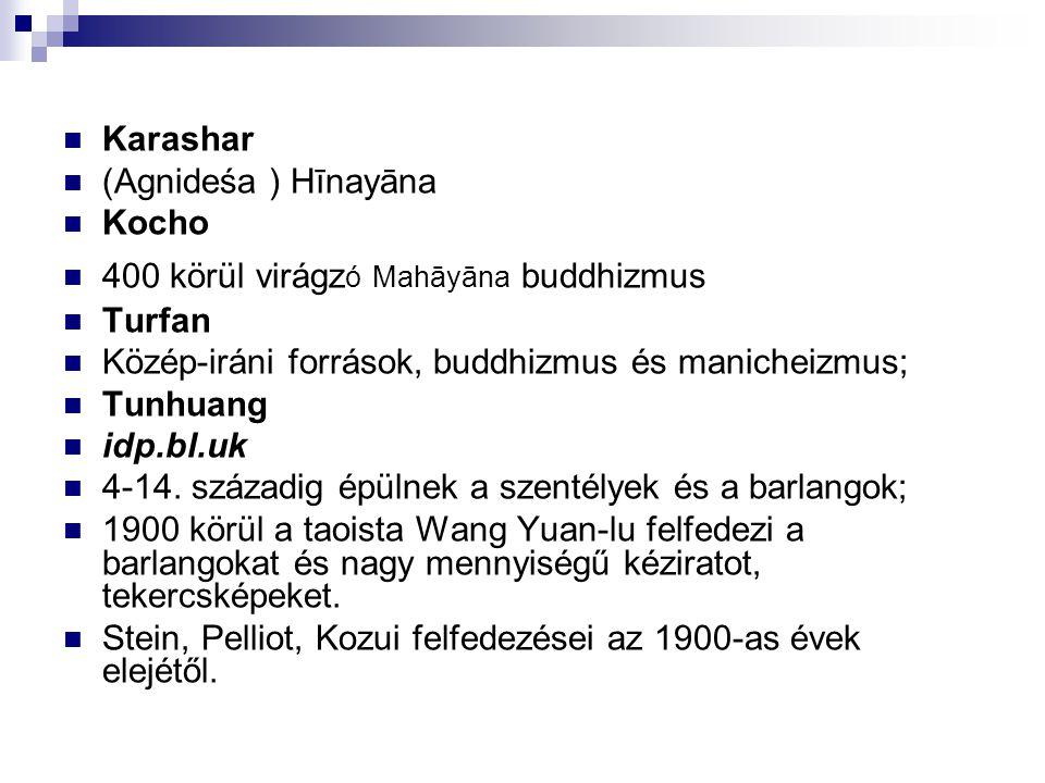 Karashar (Agnideśa ) Hīnayāna. Kocho. 400 körül virágzó Mahāyāna buddhizmus. Turfan. Közép-iráni források, buddhizmus és manicheizmus;