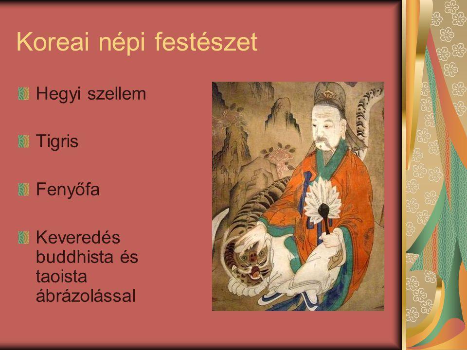 Koreai népi festészet Hegyi szellem Tigris Fenyőfa