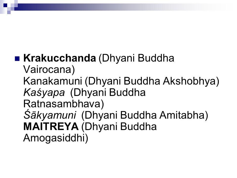 Krakucchanda (Dhyani Buddha Vairocana) Kanakamuni (Dhyani Buddha Akshobhya) Kaśyapa (Dhyani Buddha Ratnasambhava) Śākyamuni (Dhyani Buddha Amitabha) MAITREYA (Dhyani Buddha Amogasiddhi)