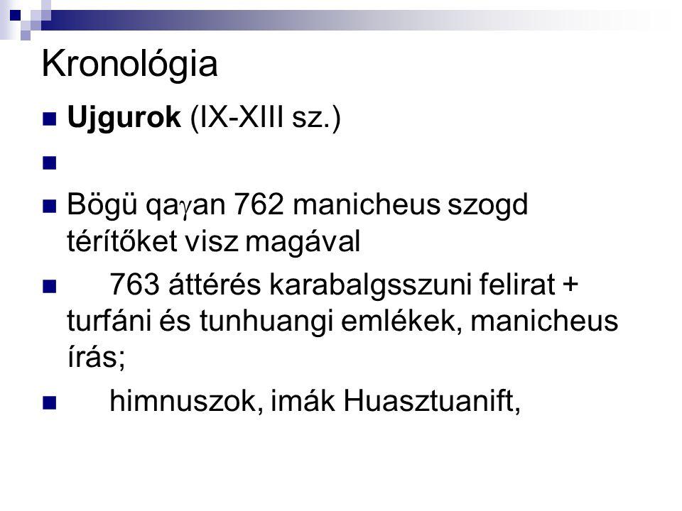 Kronológia Ujgurok (IX-XIII sz.)