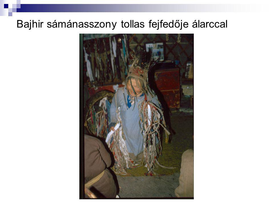 Bajhir sámánasszony tollas fejfedője álarccal