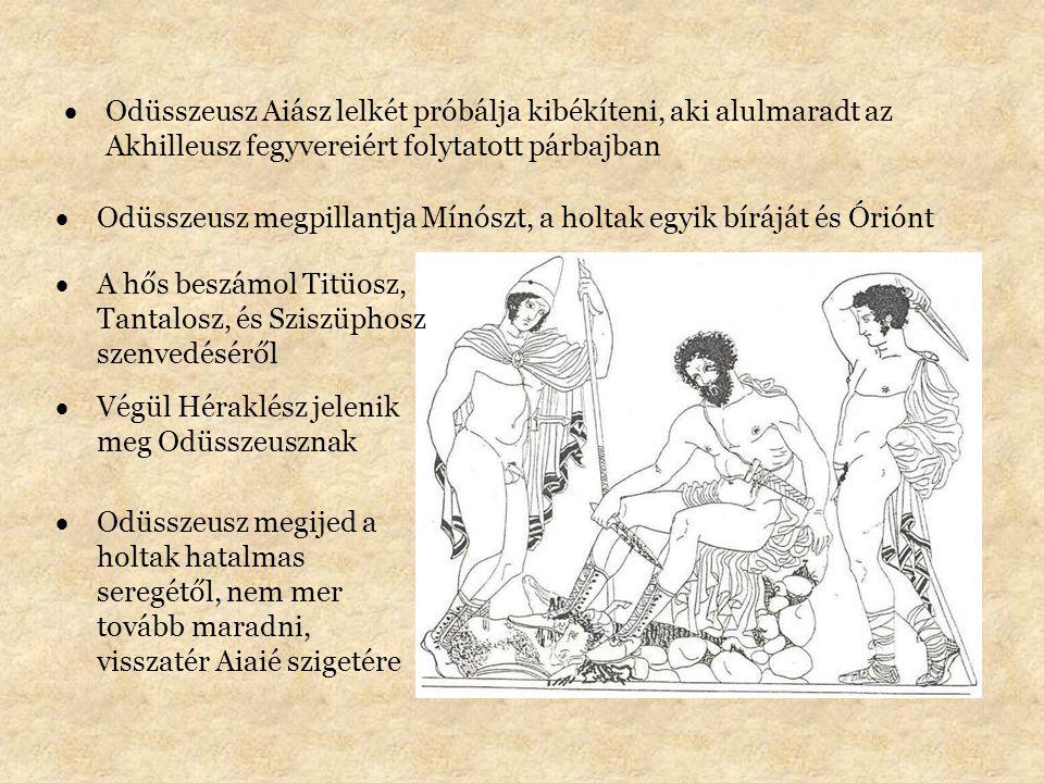 Odüsszeusz Aiász lelkét próbálja kibékíteni, aki alulmaradt az Akhilleusz fegyvereiért folytatott párbajban
