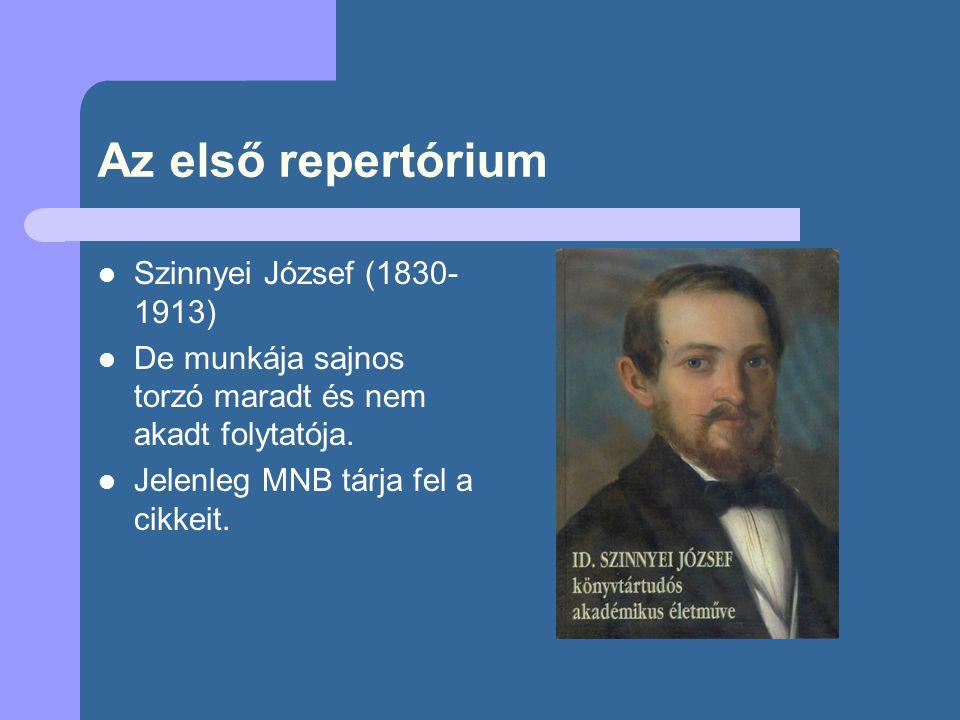 Az első repertórium Szinnyei József (1830-1913)