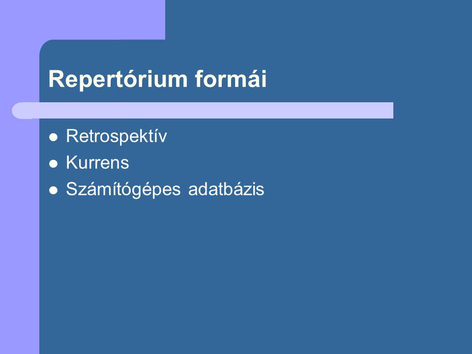 Repertórium formái Retrospektív Kurrens Számítógépes adatbázis