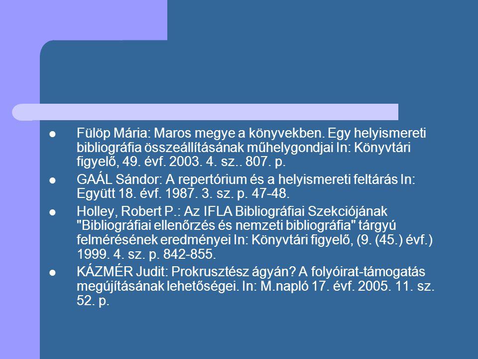 Fülöp Mária: Maros megye a könyvekben