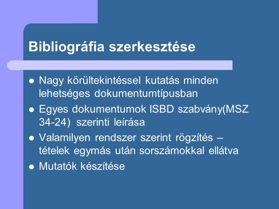 Bibliográfia szerkesztése