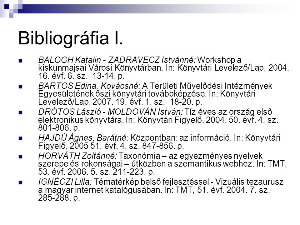 Bibliográfia I.