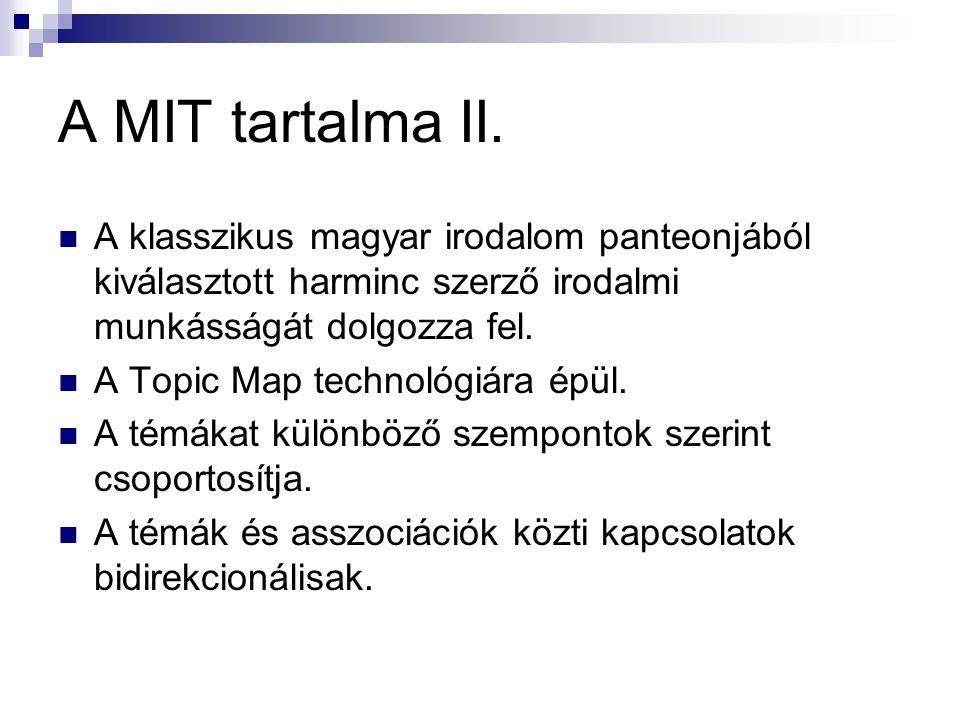 A MIT tartalma II. A klasszikus magyar irodalom panteonjából kiválasztott harminc szerző irodalmi munkásságát dolgozza fel.