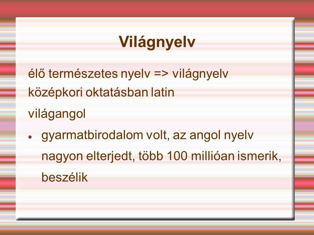 Világnyelv élő természetes nyelv => világnyelv