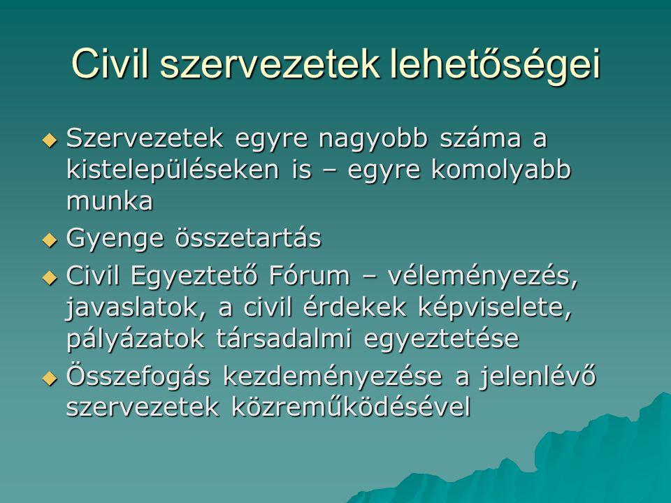 Civil szervezetek lehetőségei