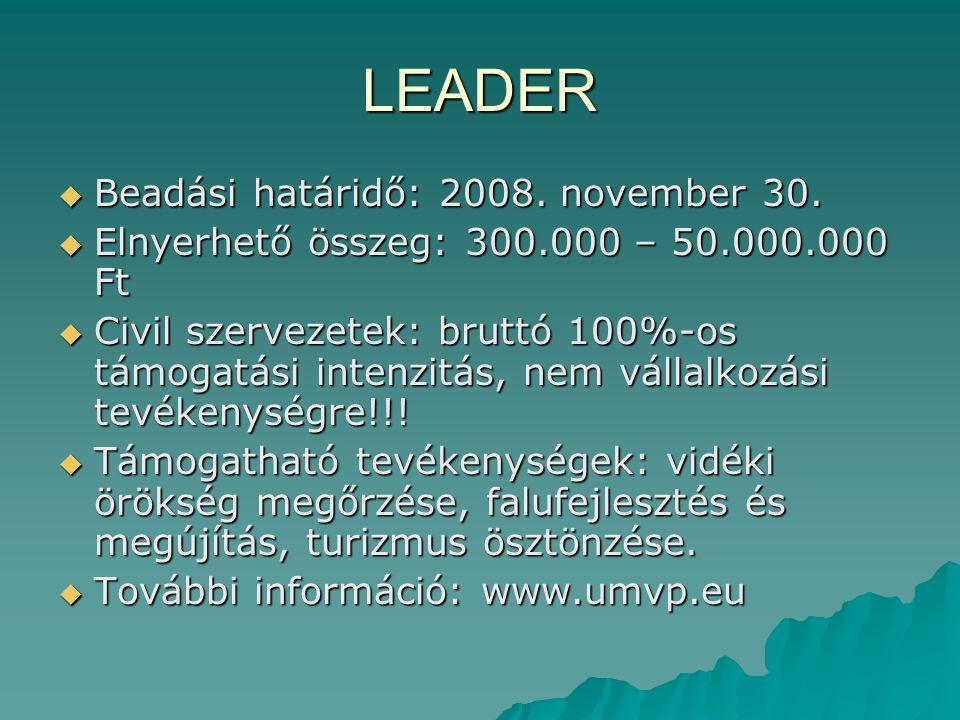 LEADER Beadási határidő: 2008. november 30.