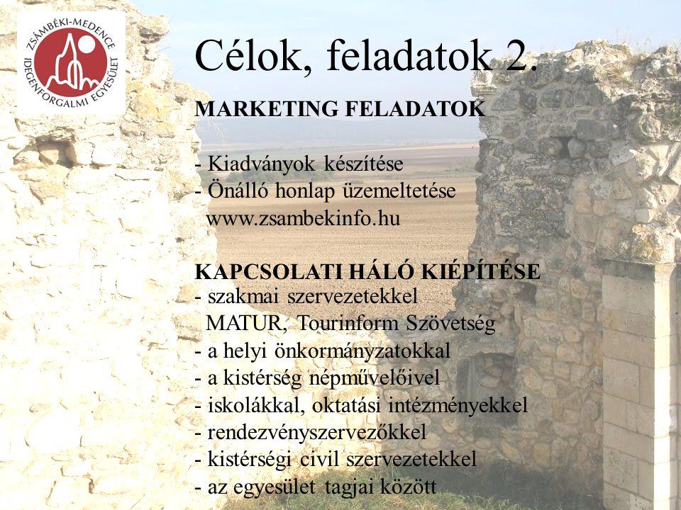 Célok, feladatok 2. MARKETING FELADATOK - Kiadványok készítése