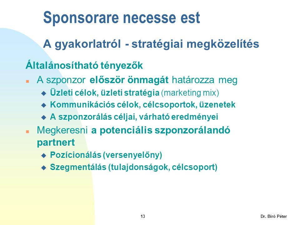 Sponsorare necesse est A gyakorlatról - stratégiai megközelítés