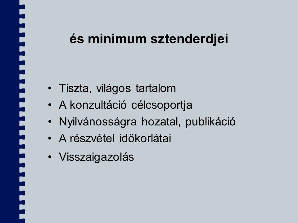 és minimum sztenderdjei