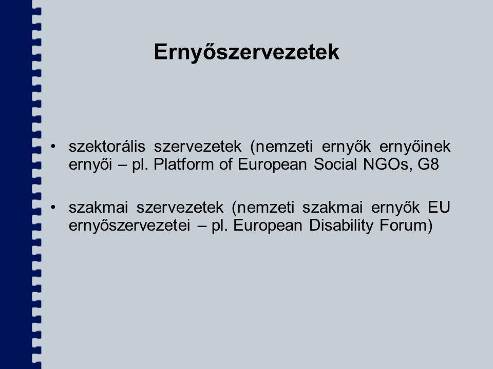 Ernyőszervezetek szektorális szervezetek (nemzeti ernyők ernyőinek ernyői – pl. Platform of European Social NGOs, G8.