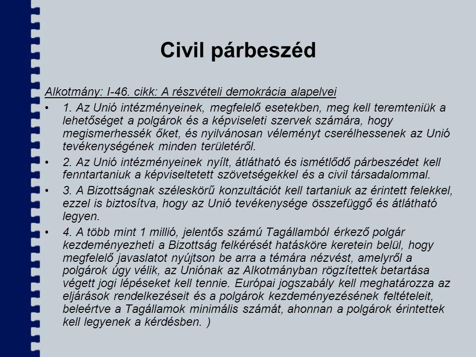 Civil párbeszéd Alkotmány: I-46. cikk: A részvételi demokrácia alapelvei.