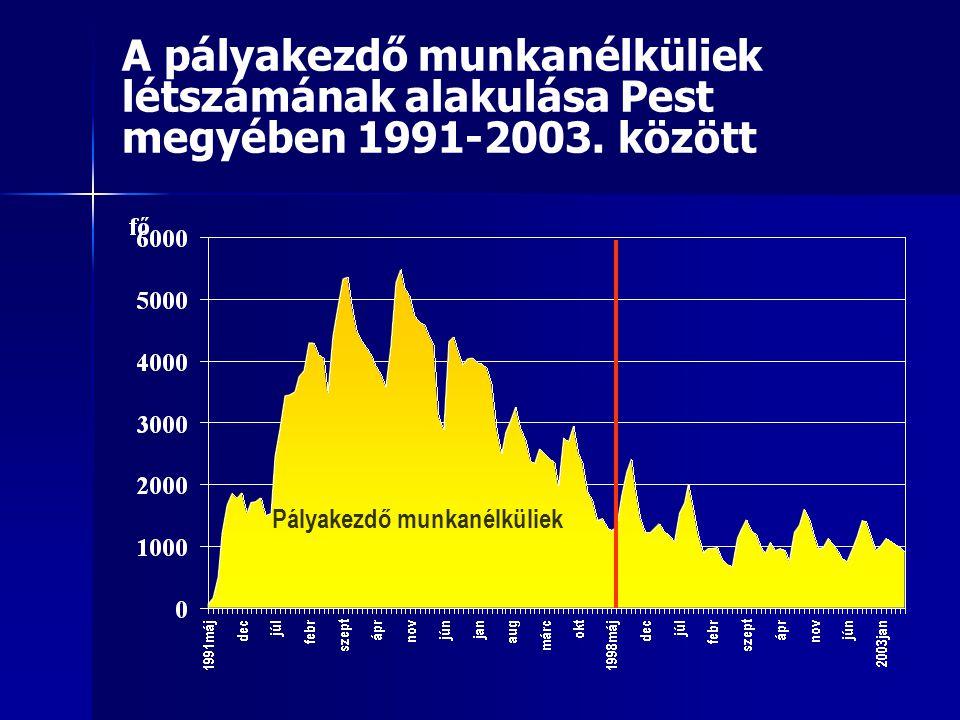 A pályakezdő munkanélküliek létszámának alakulása Pest megyében 1991-2003. között