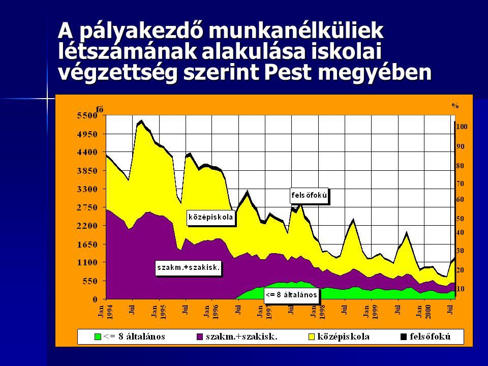 A pályakezdő munkanélküliek létszámának alakulása iskolai végzettség szerint Pest megyében