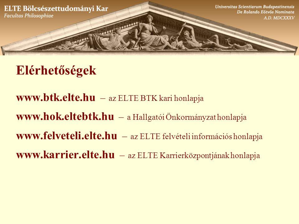 Elérhetőségek www.btk.elte.hu – az ELTE BTK kari honlapja