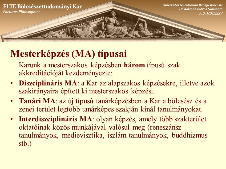 Mesterképzés (MA) típusai