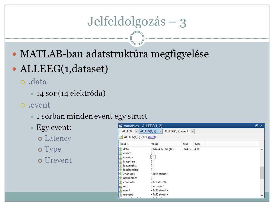 Jelfeldolgozás – 3 MATLAB-ban adatstruktúra megfigyelése