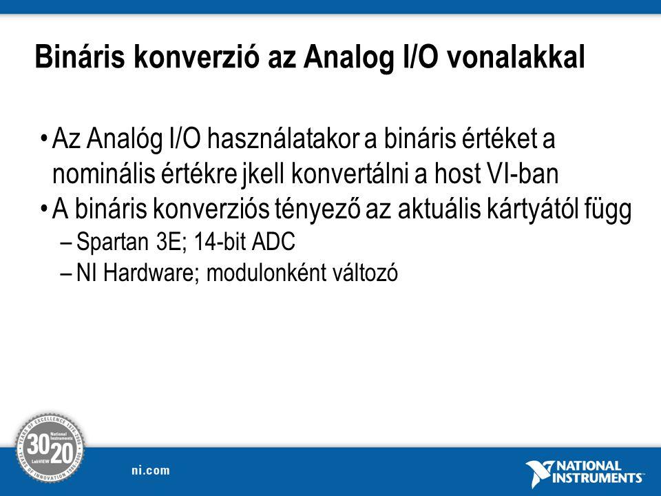 Bináris konverzió az Analog I/O vonalakkal