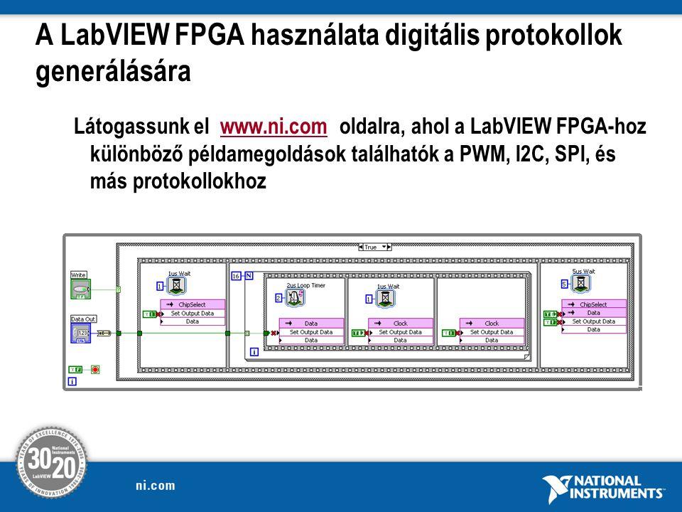 A LabVIEW FPGA használata digitális protokollok generálására