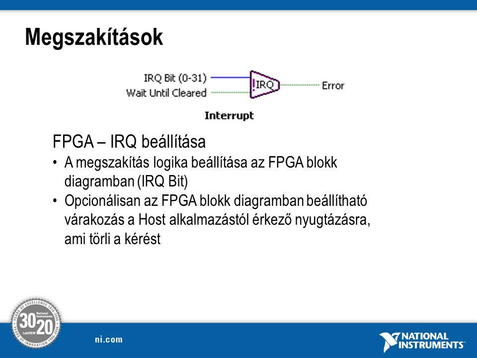 Megszakítások FPGA – IRQ beállítása