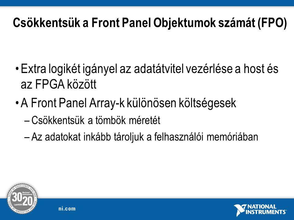 Csökkentsük a Front Panel Objektumok számát (FPO)