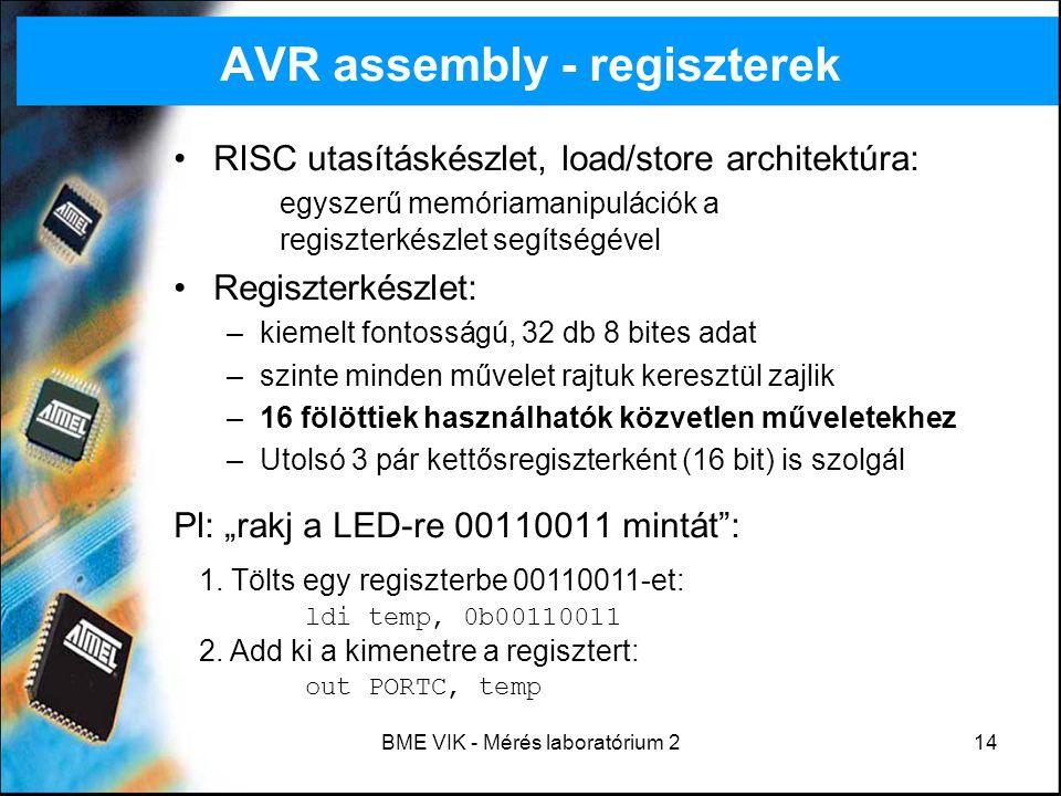 AVR assembly - regiszterek