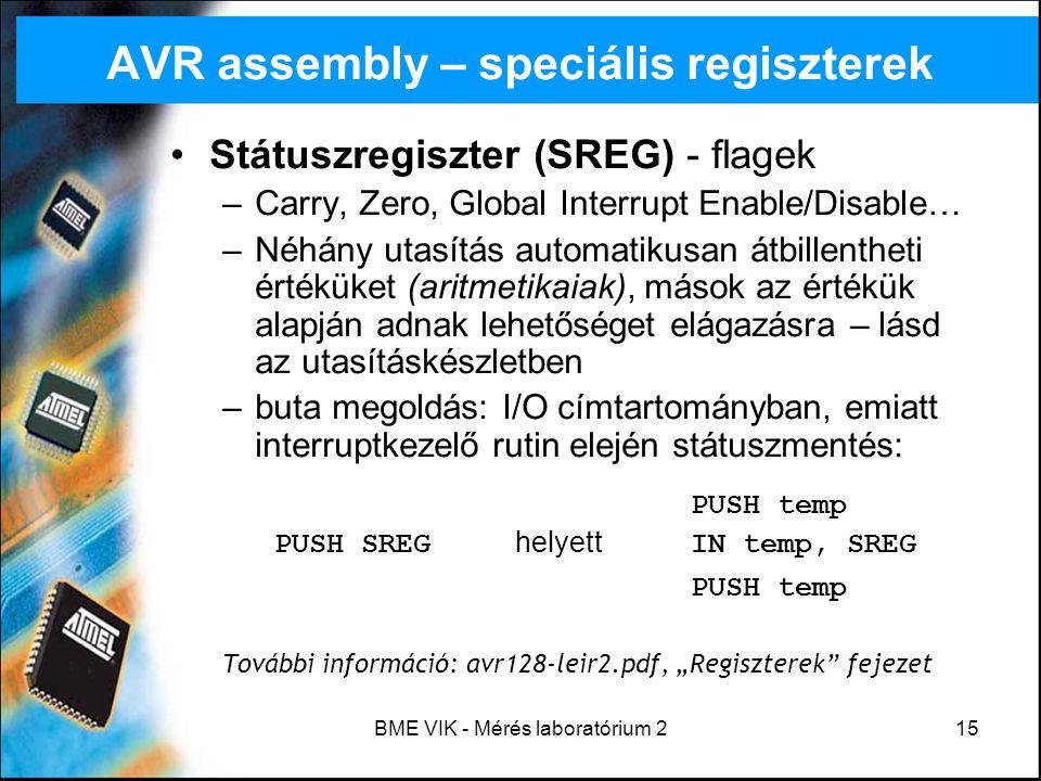 AVR assembly – speciális regiszterek