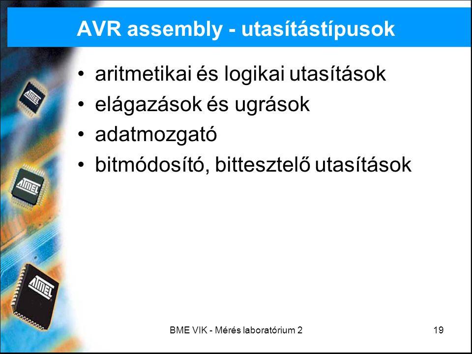 AVR assembly - utasítástípusok
