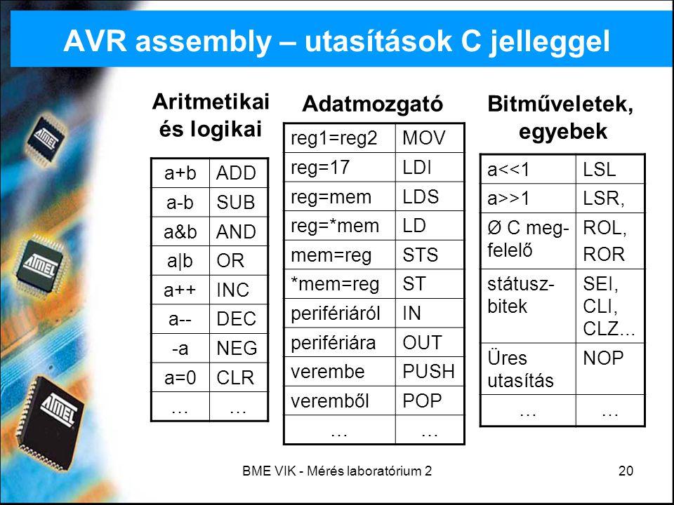 AVR assembly – utasítások C jelleggel
