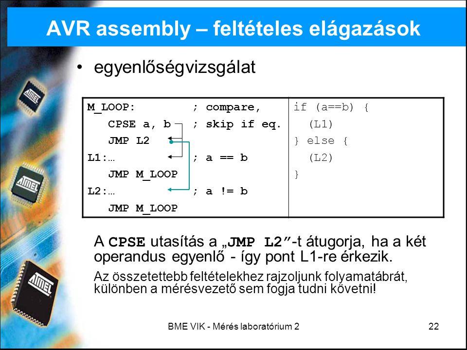 AVR assembly – feltételes elágazások