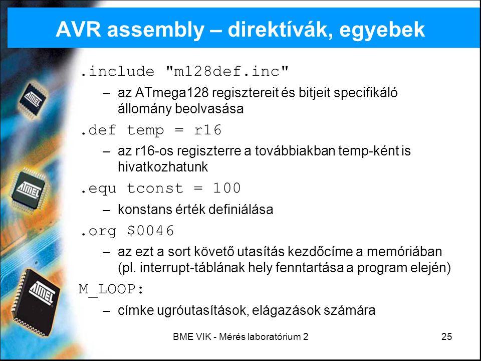 AVR assembly – direktívák, egyebek