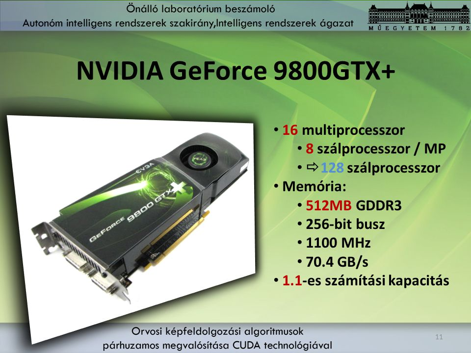 NVIDIA GeForce 9800GTX+ 16 multiprocesszor 8 szálprocesszor / MP
