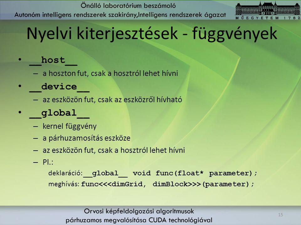 Nyelvi kiterjesztések - függvények