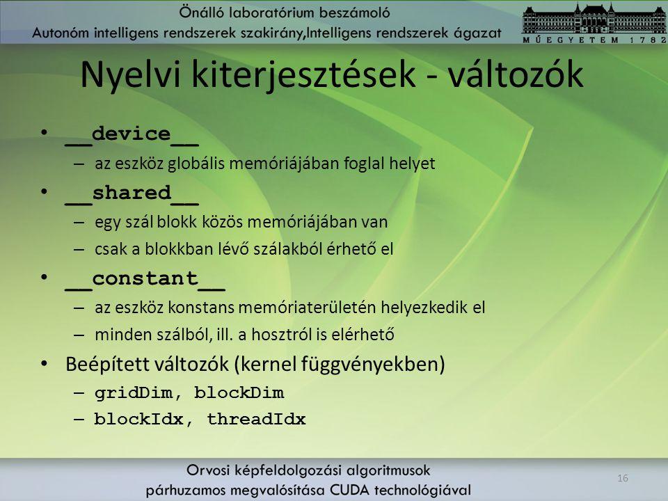 Nyelvi kiterjesztések - változók