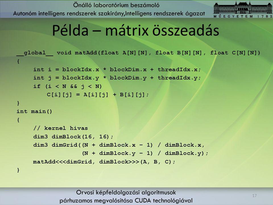 Példa – mátrix összeadás