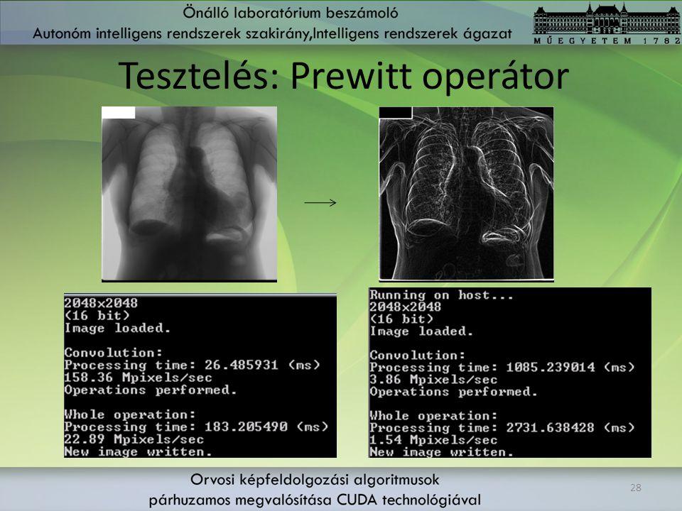 Tesztelés: Prewitt operátor