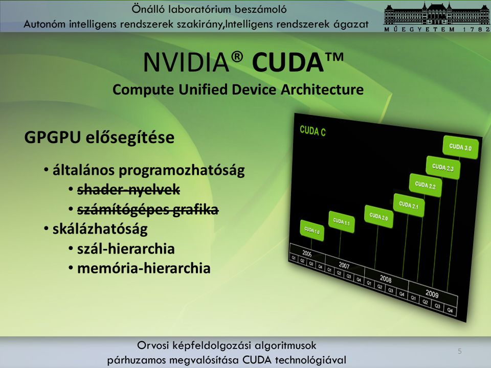 NVIDIA® CUDA™ GPGPU elősegítése Compute Unified Device Architecture
