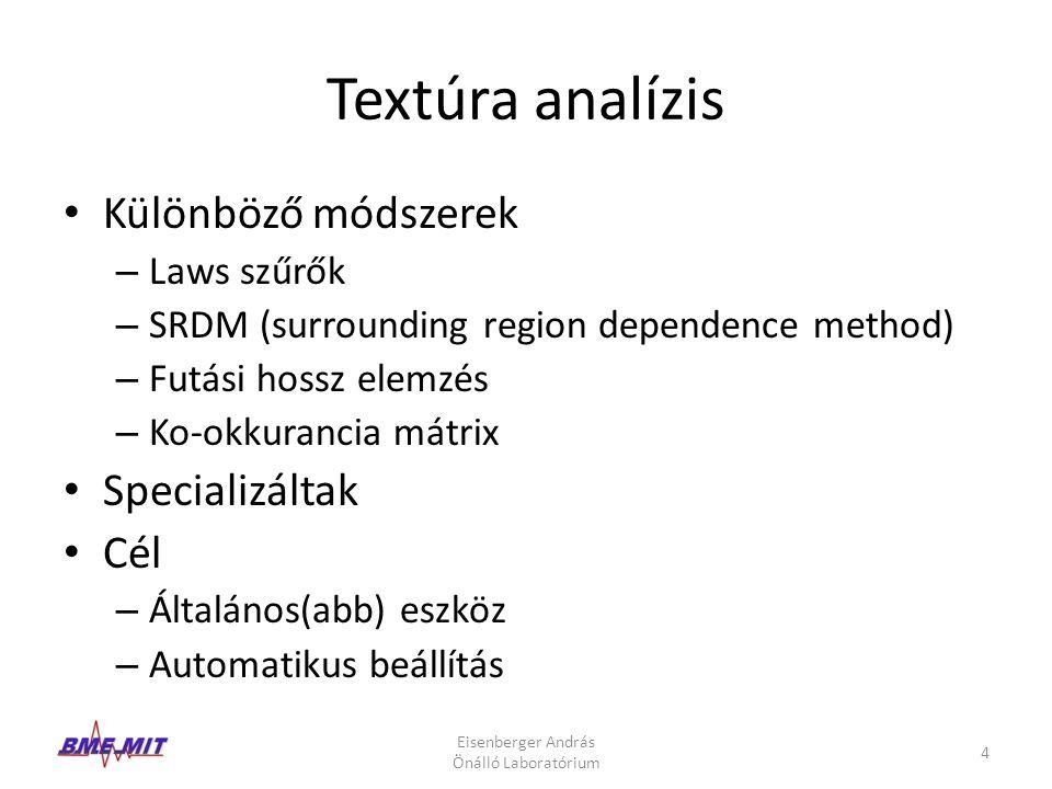 Textúra analízis Különböző módszerek Specializáltak Cél Laws szűrők