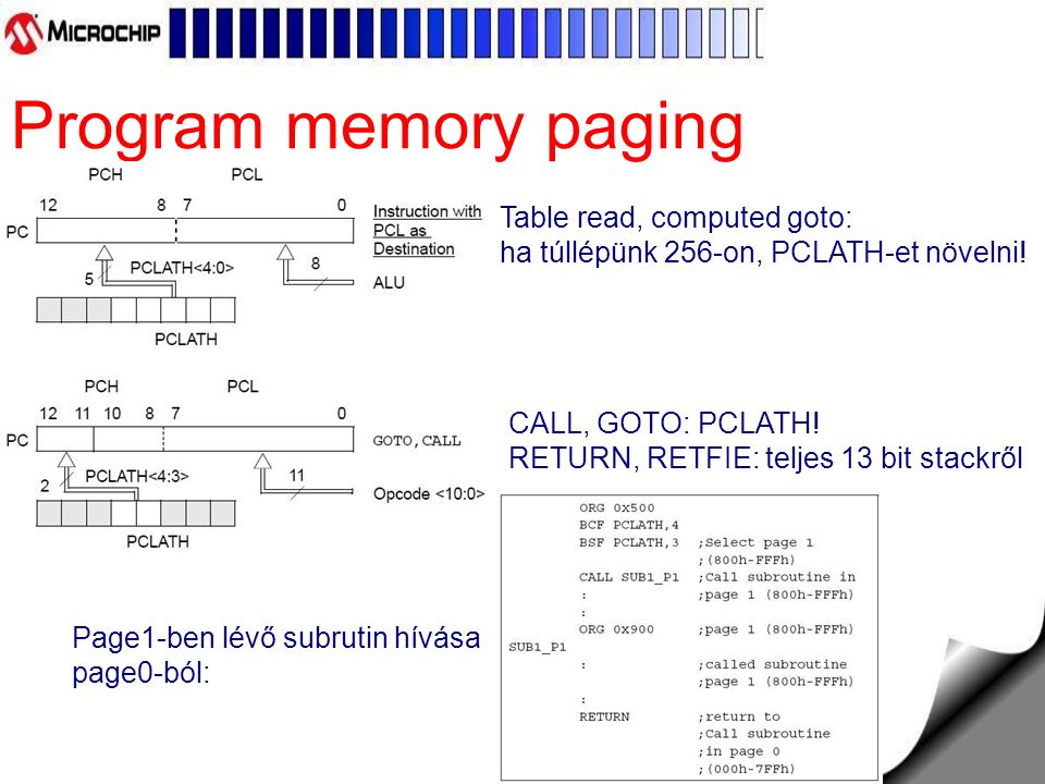 Program memory paging Table read, computed goto: ha túllépünk 256-on, PCLATH-et növelni! CALL, GOTO: PCLATH! RETURN, RETFIE: teljes 13 bit stackről.